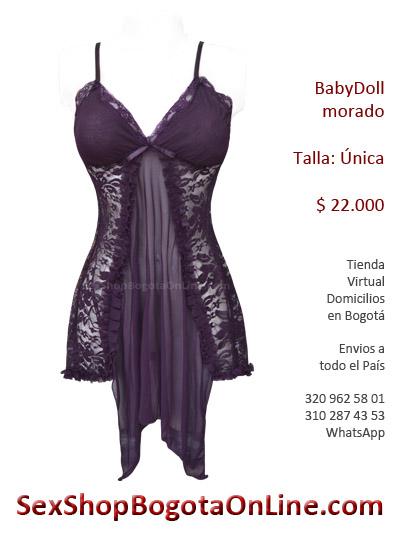 babydoll morado velo blonda sexy sensual mujer ropa erotico sexshop ventas erzebeth colombia bogota domicilios cali
