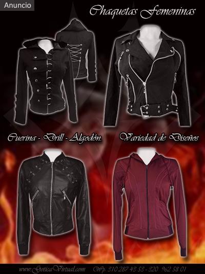 chaquetas femeninicas chica tipo chamarra clasica tela cuero cuerina tienda online rock metal bogota colombia