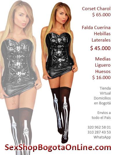corset charol falda cuerina hebillas medias liguero huesos sex shop envios colombia bogota cali medellin santander cucuta