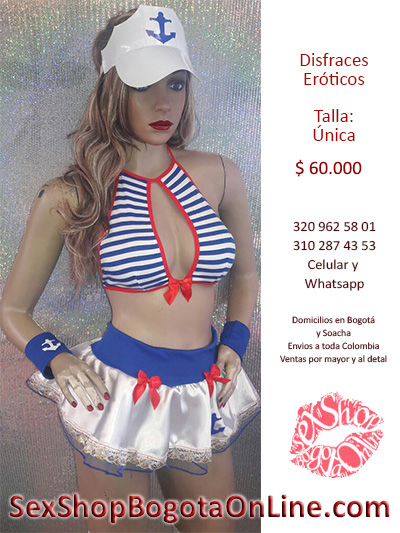 disfraces eroticos marinera rayas blanco rojo azul sexy ancla gorra falda domicilio atrevido bogota popayan neiva