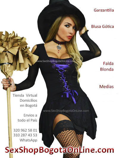 disfraz bruja bogota blusa puntas gotica cintas velo falda blonda encaje morada licrada halloween octubre medellin cali