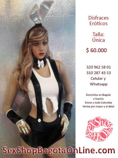 disfraz chica play boy plateado blanco negro short corto traje sensual sex shop virtual envios colombia