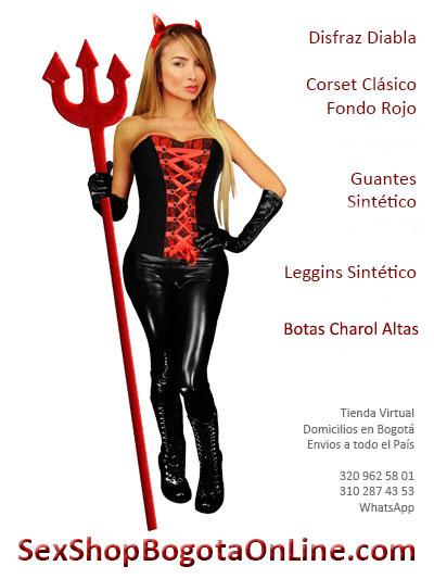 disfraz diabla corset clasico rojo negro guantes botas charol sex shop domicilios colombia bogota cali medellin santander manizales cucuta