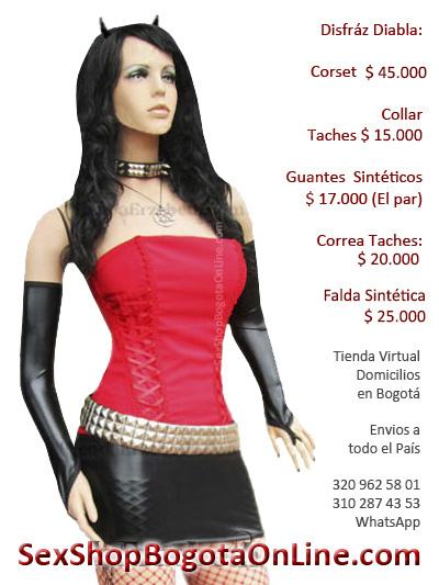 disfraz diabla sexy corset rojo guantes brillantes correa taches falda corta minifalda sensaul sex shop medellin cali manizales valledupar tunja ibague
