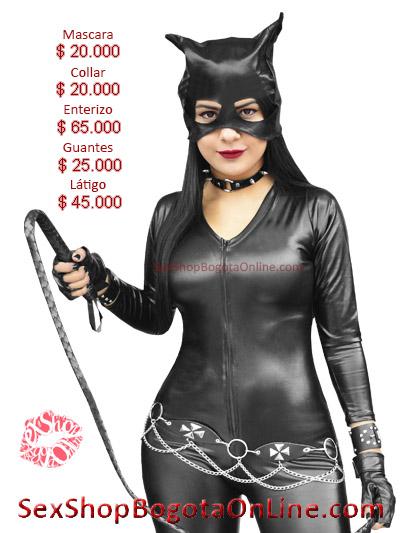 disfraz gatubela negro brillante sexy mujer dama excelente calidad ventas envios pereira cucuta quito zipaquira barranquilla neiva