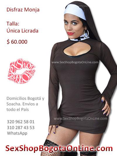 disfraz monja negro unica licrado velo sexy domicilios bogota cali medellin santander cucuta colombia sex shop