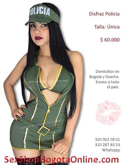 disfraz policia verde sexy vestido erotico tanga hilo brasiar goraa medias malla sensual fantasias juegos pareja sex shop venta bogota colombia