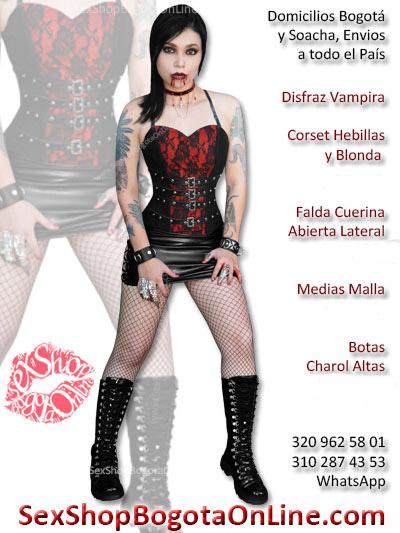 disfraz vampira sexy falda abierta corset medias malla economico envios bogota manizales santander quindio popayan colombia