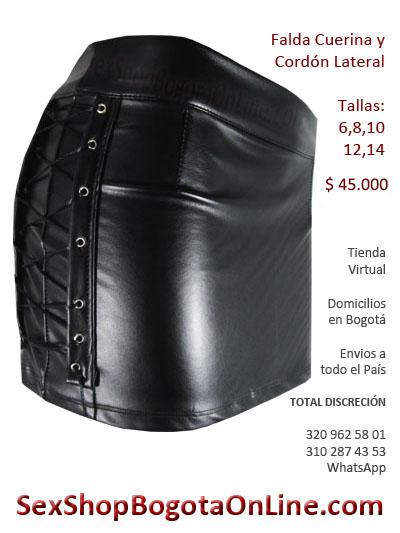 falda cuerina cuero imitacion latex pvc cordones minifalda dama femenina sex shop ventas al por mayor envios barranquilla tumaco pasto medellin cartagena guajira villavicencio