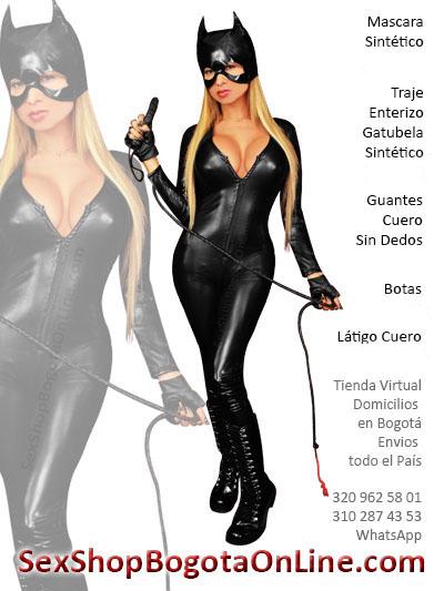 gatubela disfraz enterizo barato sintetico negro guantes latigo mascara cuero imitacion cuerina pvc latex