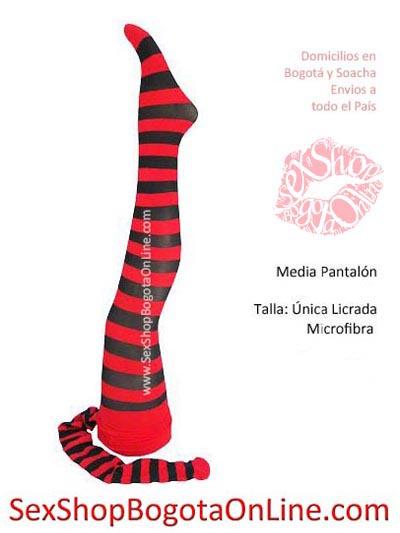 media pantalon rayas rojas con negro lineas franjas horizontales bogota microfibra veladas panty talla unica rockeras punkeras accesorios diabla bruja