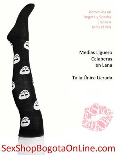 medias liguero calaveras blancas negras licradas ajustadas disfraces halloween dia noche brujas