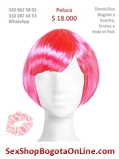 peluca femenina cota rosada lisa sex shop bonita economica venta online domicilios bogota y soacha envios colombia