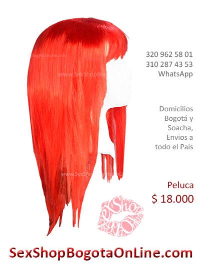 peluca femenina roja larga lisa sex shop bonita economica venta online domicilios bogota y soacha envios colombia