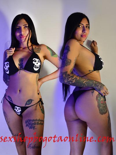 sexy bikini estampado misfits estilo punk de amarrar strech licrado negro leceria envios nacionales domicilios bogota soacha