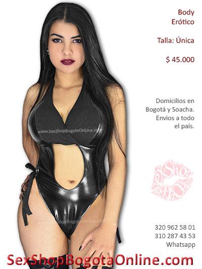 body sexy sintetico negro brillante algodon economico escotado sensual lenceria erotico bogota sex shop tienda online envios bogota valle cali neiva tunja caldas colombia