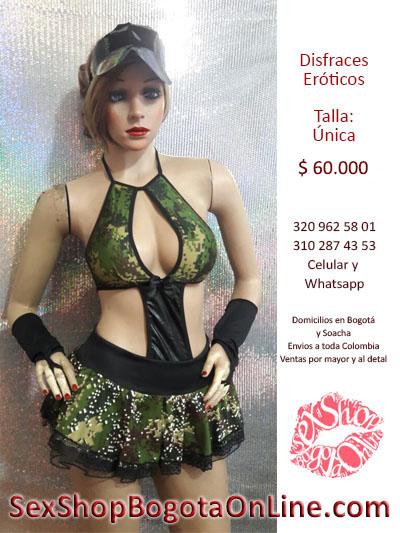 traje chica militar sensual falda guantes pixelado verde seducir corto domicilios bogota soacha engativa usme bosa usaquen restrepo