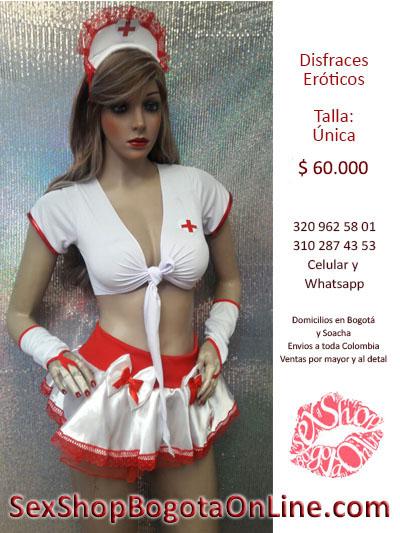 traje enfermera falda escote profundo blusa descubierta guantes sexy atractiva para seducir compras bogota online colombia