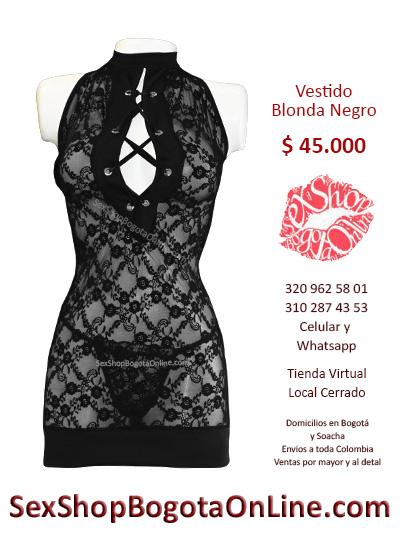 vestido blonda negro lenceria sex shop tienda online bogota soacha chapinero suba usme tunal colombia