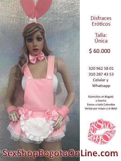 vestido conejita sensual rosa falda corta orejas tipo mucama atrevida envios todo colombia bogota cali medellin barranquilla bucaramanga
