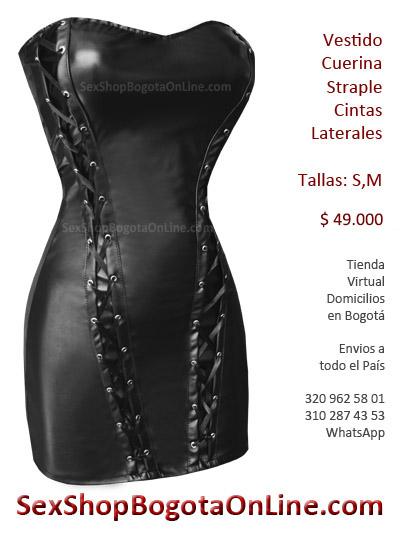 vestido cuerina sex shop erotico sensual bogota pvc brillante latex imitacion cuero sintetico erotismo fetichismo sado exitante prendas dama sexy medellin