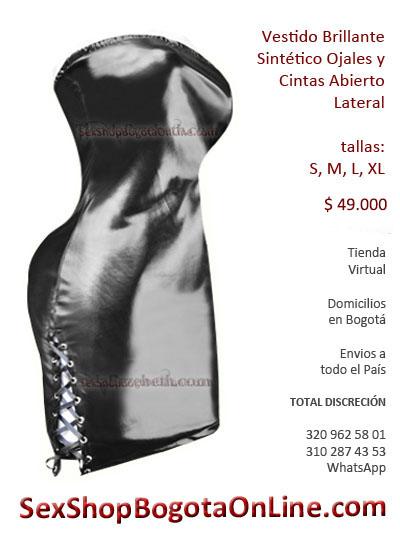 vestido cuerina sex shop sintetico cuero imitacion ojales brillante ventas al por mayor envios medellin cali pereira santa marta ibague