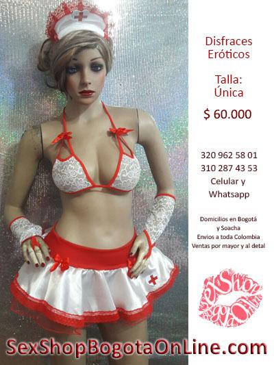 vestido enfermera sensual blanco rojo encaje blonda cofia trajes atrevidos bogota sex shop bogota online
