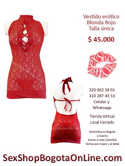 vestido erotico blonda rojo talla unica sex shop tienda online local cerrado domicilios soacha suba normandia castilla cedritos teusaquillo colombia