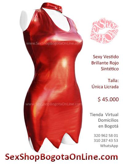vestido rojo brillante lame licrado disfraces halloween diabla envios soacha chia zipaquira pereira cucuta manizales