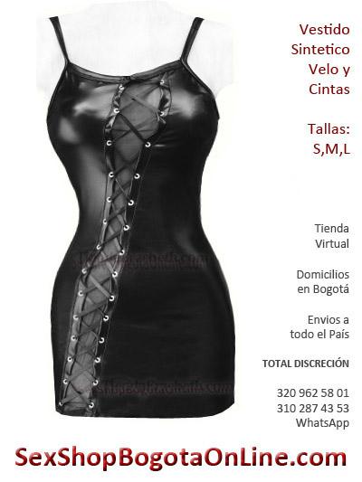 vestido cuerina sintetico sex shop escote cordones cuero licrado imitacion envios bogota valledupar yopal envigado casanare lame pvc brillante