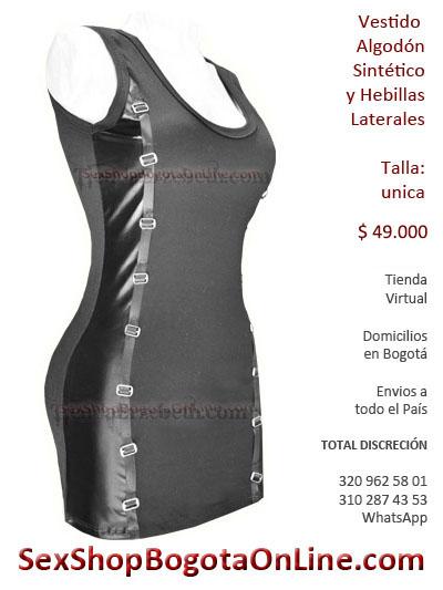 vestido sintetico correas laterales hebillas algodon sex shop envios bogota manizales pereira santander bucaramanga buga chigorodo