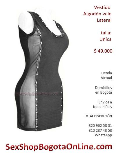 vestido velo lateral algodon sexy sex shop feminina damas mujeres correas taches envios colombia cali medellin cartagena